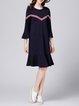 Dark Blue Flounce 3/4 Sleeve Casual H-line Midi Dress