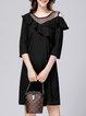 Black Casual Paneled 3/4 Sleeve H-line Flounce Mini Dress
