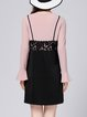 Black A-line Scoop Neckline Long Sleeve Guipure Lace Dress With Top