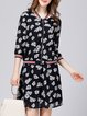 3/4 Sleeve H-line Casual Floral Print Two Piece Top With Skirt