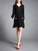 Casual Slit Plain Long Sleeve High Low Midi Dress