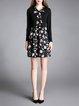 Long Sleeve Girly Printed Midi Dress