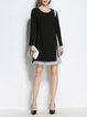 Color-block H-line Long Sleeve Midi Dress
