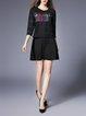 3/4 Sleeve Plain Midi Dress