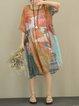 Multicolor Printed Casual Linen Dress