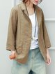 Lapel Cotton Casual Linen Outerwear