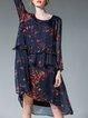 Abstract Casual Crew Neck Long Sleeve Midi Dress