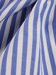 Blue Long Sleeve Stripes Printed Spandex Blouse