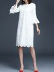 White Casual Cocoon Plain Midi Dress