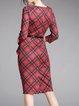 Red Paneled Checkered/Plaid Elegant Round Neck 3/4 Sleeve Midi Dress