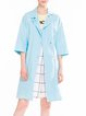 Blue Lapel Cotton 3/4 Sleeve Solid Trench Coat
