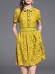 Yellow Buttoned Gupure Lace Shirt Collar Short Sleeve Mini Dress