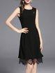 Black Crew Neck Sleeveless Paneled Lace Midi Dress