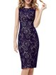 Blue Lace Sexy Sheath Midi Dress