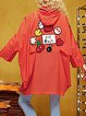 Orange Batwing Appliqued Hoodie Shift Statement Coat