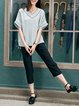 Gray Half Sleeve V Neck Blouse