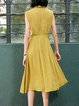 Yellow Lapel A-line Sleeveless Midi Dress