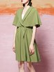 Olive Green Plunging Neck Gathered Batwing Midi Dress