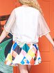 White Half Sleeve Casual Two Piece Printed Crew Neck Blouse