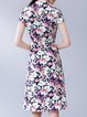 Multicolor Vintage Floral V Neck Printed Midi Dress