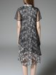 Short Sleeve Vintage Silk Printed Shirt Dress