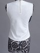 White Sleeveless Appliqued Crew Neck Polyester Blouse