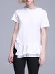 White Simple Paneled Asymmetrical T-Shirt