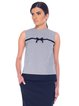 Sleeveless Crew Neck Casual Checkered/Plaid H-line Button-back Placket Tops