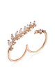 Love in Autunm Rose Gold 925 Sterling Silver Zircon Adjustable Leaf Ring