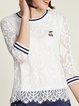 Embroidered 3/4 Sleeve Casual Lace Long Sleeved Top
