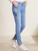 Blue Casual Pockets Denim Straight Leg Pants
