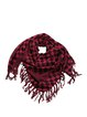 Black-red Fringed Acrylic Checkered/Plaid Scarf