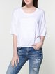 Casual Letter Batwing Embossed High Low Sweater