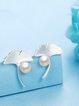 Silver-Color Pearl Leaf Earrings