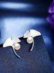 Silver 925 Sterling Silver Pearl Leaf Earrings