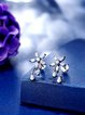 Silver-Color Flower Zircon Silver-Color Earrings