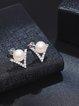 Silver-Color Zircon Earrings