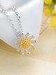 Silver-Color Flower Necklace