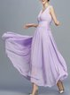 Purple Lace Up V Neck Simple Maxi Dress