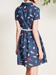 Cotton-blend Short Sleeve Casual A-line Printed Shirt Dress with Belt