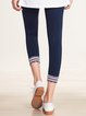 Dark Blue Cotton-blend Casual Leggings