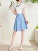 Blue A-line Solid Simple Midi Skirt
