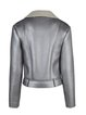 Silver Statement Zipper H-line Lapel Biker Jacket