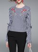 Frill Sleeve Embroidered Casual Blouse