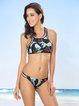 Black Straped Racerback Printed Bikini