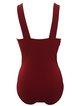 Red Padded Ruched  Solid One-Pieces&Tankini