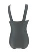 Gray Solid Ruched One-Pieces&Tankini