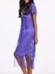 Purple Resort Fringes Open Front Coverup