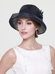 Flower Appliqued Silk Casual Hat