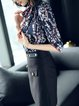Stand Collar 3/4 Sleeve Floral-print Floral Blouse